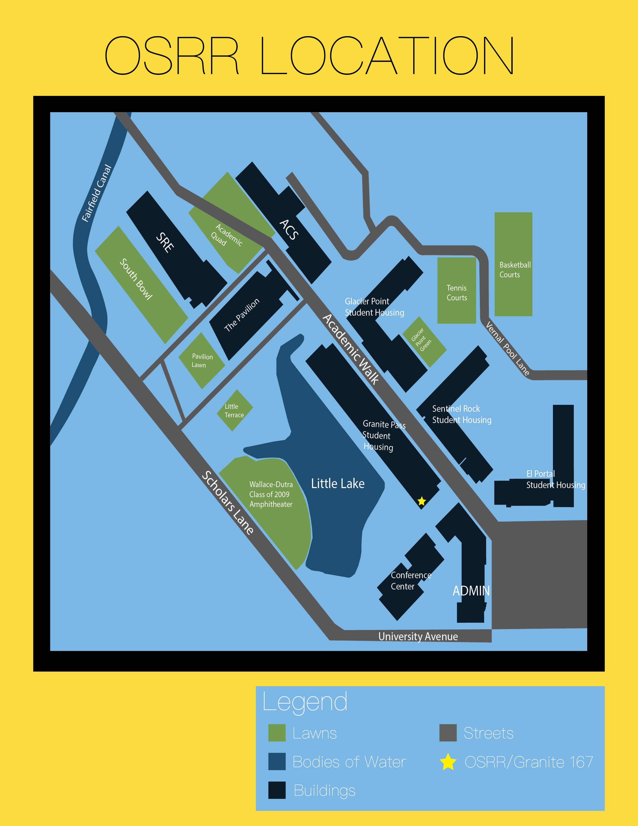A map of the south side of campus indicating the location of the Office of Student Rights and Responsibilities which is located in Granite Pass room 167.